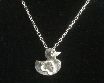 Sterling silver Duck pendant, handmade in Northern Ireland