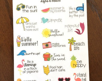 Charmant Summer Sayings Planner Stickers   Summer Quote Stickers   Summer Stickers    Mermaid Stickers   Flamingo Stickers   Calendar Stickers