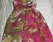 Dress for Blythe sized doll, Sleeveless Pink and Moss batik Summer dress for Blythe and similar sized dolls