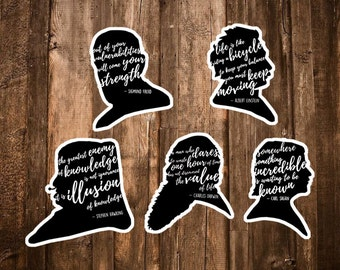 Science Stickers - Set of 5 Scientist Quote Stickers - Darwin, Einstein, Sagan, Freud, Hawking - Math/Biology/Astronomy/Physics Science Gift
