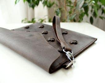 Leather Clutch bag Women's Genuine Leather Leather Clutch Purse Knots brown leather Simple purse Color variations Envelope purse Wrislet