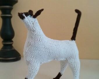 Hand Knit Stuffed Cat Toy Siamese