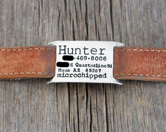 Hand stamped dog collar slide ID tag / dog tags for dogs / personalized / custom / large dog / silver / dog ID tag