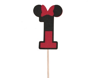 Minnie Mouse Inspired 1 First Birthday Cupcake Toppers - Set of 12