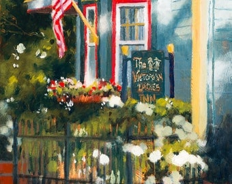 Blue House Painting, Patriotic Painting, Victorian House Painting, Victorian Ladies Inn