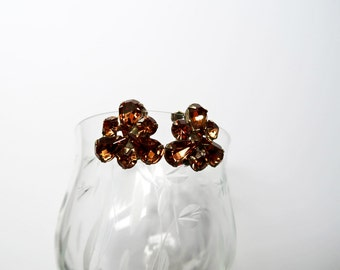 60's Chocolate Brown Weiss Clip On Earrings