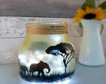 Safari night light, desert sky lamp, child's room lighting, wild animal themed decor, elephant giraffe light up jar, orange lamp for home