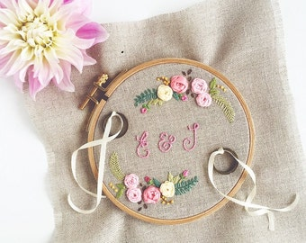 """Sweet ring pillow """"Floribunda"""" with pretty Boho flowers {hand embroidered with love}"""