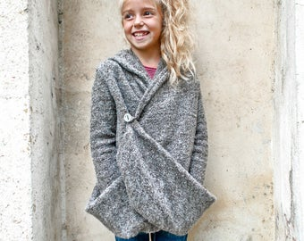 Wool cardigan sweater/Hooded sweater drape cardigan/Hoodie sweater kids cardigan/Winter cardigan/Wrap cardigan/Girls sweaters/Girls cardigan