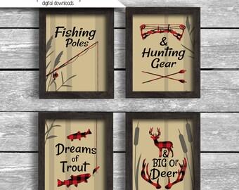 Buffalo Plaid Fishing Poles Hunting Gear Dreams Of Trout Big Ol Deer Instant Download 8x10 Inch Digital JPG Lumberjack Nursery Printable