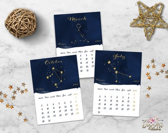 2017 Zodiac Constellation Calendar Printable Watercolor Monthly 5x7 Desk Calendar Navy Gold Astrology Horoscope Calendar Digital Download