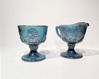 Blue Carnival Glass Creamer and Sugar Set, Vintage Glass Creamer and Sugar Bowl, Iridescent Blue Carnival Glass Creamer and Sugar Bowl Set