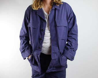 Brand New Dead Stock Vintage All Navy Blue Army Jacket Army Military Security Grunge USA 1990s 80s