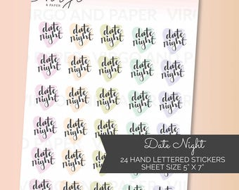 Date Night Hand Lettered Pastel Heart Planner Stickers - Heart, date night, hand lettering, planner stickers - Glossy or matte
