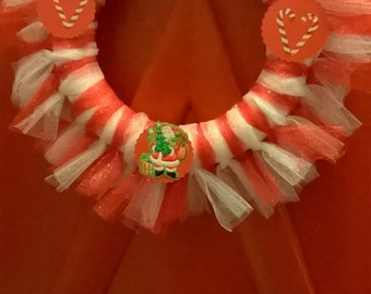 Red and White Tulle Wreath with Candy Canes