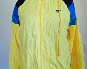 Vintage Raincoat / Rain coat / Run / Windbreaker/ Outwear / Medium / M / Activewear / Jacket /  Yellow / Made in FInland