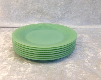 "7 Fire King Jane Ray Jadeite 7 3/4"" Salad Plates Vintage Anchor Hocking Jadite"