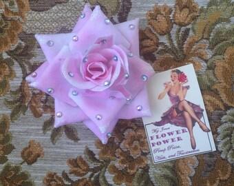 JANE - handcrafted pinup hair flower, salvaged vintage corsage (PINK ROSE)