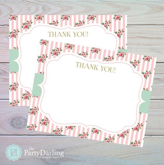Shabby Chic Thank You Card Shabby Chic Birthday Party Shabby