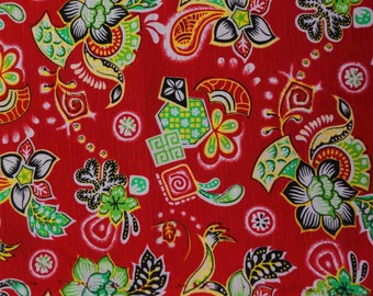 """Indian Fabric, Multicolor Floral Print, Red Fabric, Dress Material, Sewing Fabric, 59"""" Inch Rayon Fabric By The Yard ZBR239E"""