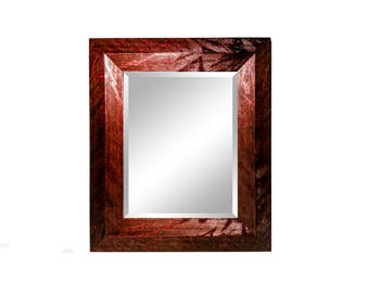 42x30 ITALIAN Mid Century Modern Framed Beveled Mirror, Striated/Distressed, Glossy Lacquer, Burgundy or White, Custom Mirrors, Wall Mirrors
