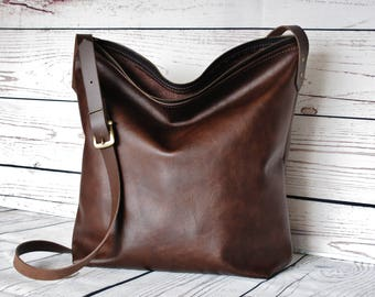 Dark brown leather crossbody bag, real leather, cross body, shoulder bag, leather purse, leather hobo