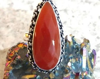 Faceted Carnelian Ring Size 6 3/4