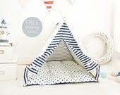 Dog teepee - blue and white stripes (Medium size) Oh yes, FREE worldwide shipping!