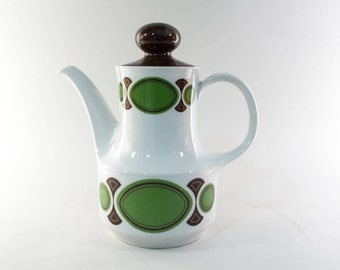 RESERVED - Vintage 70s teapot/ coffeepot by Winterling Bavaria, Germany, retro kitchen, green, brown, white