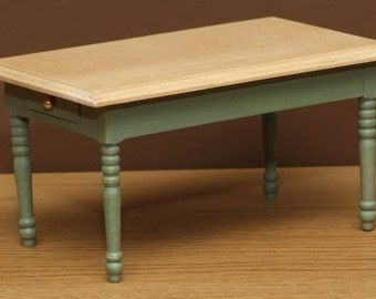 1:12 Scale Dolls House Country Kitchen Table - Choice of 15 colours painted to order