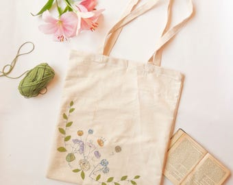 Floral Embroidered Shoulder Tote Bag - blue, yellow and white