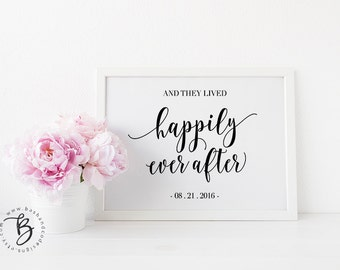 And They Lived Happily Ever After Printable Sign, Instant Download, Wedding Guestbook Printable, Wedding Date Sign, Happily Ever After Sign