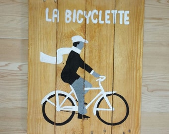 the bicycle - decorative wood panel - painting on wood - panel vintage