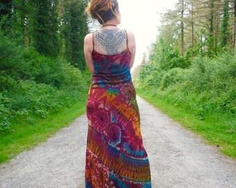 Red Rainbow Tie Dye Maxi Dress Boho Summer Hippy Festival Dress Bohemian Hippie Colourful Holiday Dress