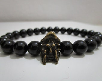 Spartan helmet bracelet, Onyx Gladiator bracelet, Mens jewelry, Natural stone bracelet, Bracelet, Mens stone bracelet, Gift for men, Jewelry