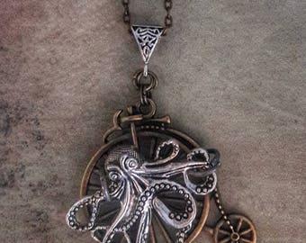 Underwater Octopus on Victorian Bicycle Steampunk  Necklace, Steampunk Necklace, Octopus Steampunk Necklace, Victorian Steampunk Jewelry