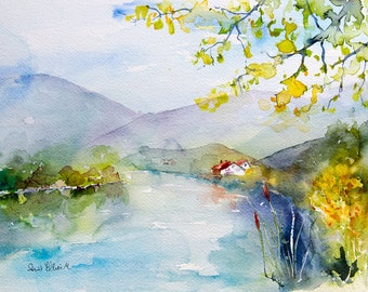 Original watercolour painting of a river with trees - river landscape original painting - riverbank painting - riverside - edge of the river