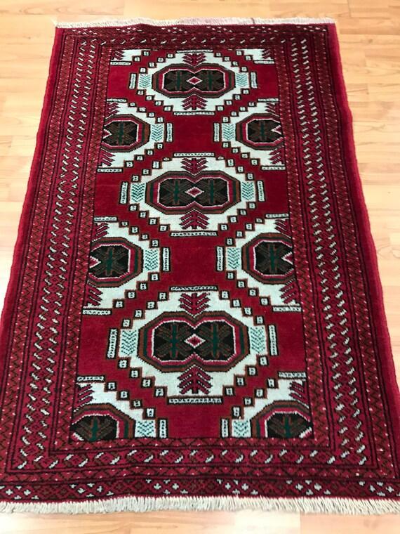 "2'5"" x 3'9"" Persian Turkeman Oriental Rug - 1950s - Hand Made - 100% Wool"