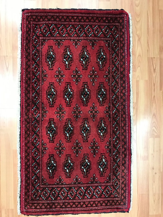 "1'10"" x 3'5"" Antique Persian Turkeman Oriental Rug - 1930s - Hand Made - 100% Wool"