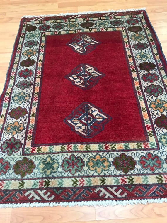"2'3"" x 3' Persian Turkeman Oriental Rug - 1950s - Hand Made - 100% Wool"