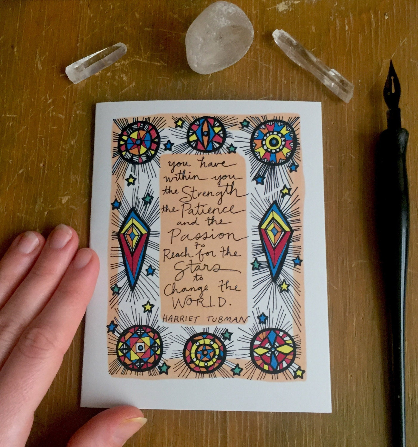 "Harriet Tubman Quote Card / Change the World/ Rainbow Shooting Stars / 5.5"" x 4.25"" / Inspirational African American Woman Hero"