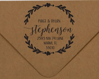 Address Stamp, Return Address Rubber Stamp, Elegant Address Stamp