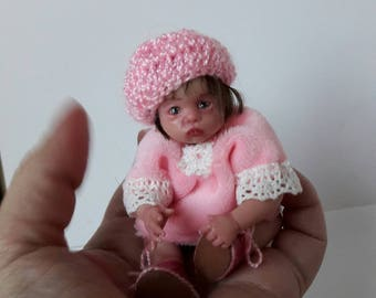 Sold!!!OOAK polimer clay miniature baby doll 4,3, handmade,mini babies,doll, doll handsculpt, mini doll, polimer clay doll, baby doll
