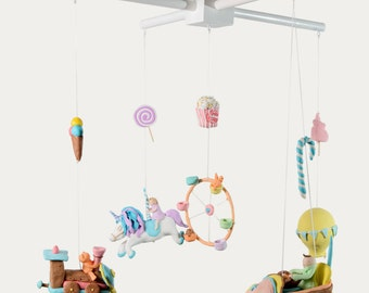 baby mobile,crib mobile,nursery mobile,nursery decor mobile,unicorn baby mobile, hanging mobile,sweets baby mobile,hot air balioon mobile