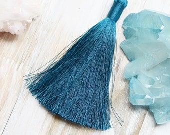 3.5 inches, Teal Blue Tassel, Teal Blue, Blue Tassel, Large Tassel, Large Blue Tassel, Jewelry Tassel, Ear Ring Tassel, Silk Tassel, B17