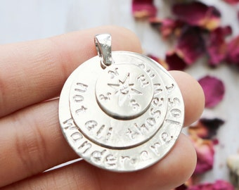 set of 2, word pendant, not all those who wander are lost, compass pendant, large pendant, silver compass, 38mm x 30mm