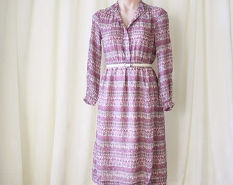 Bohemian Floral Japanese Vintage Shirt Dress, XS Small 4189