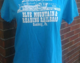 "Vintage 1980's t-shirt ""Blue Mountain & Reading Railroad, Hamburg Pa."" Soft and thin size Large, made in USA"