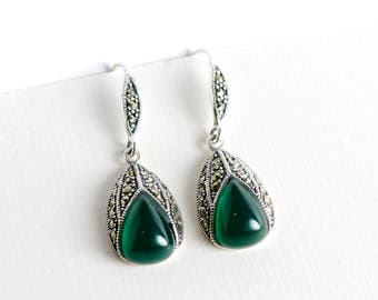 Green Onyx Marcasite Drop Earrings, Sterling Silver Base, Vintage Style Dangle Earrings, Antique Looks