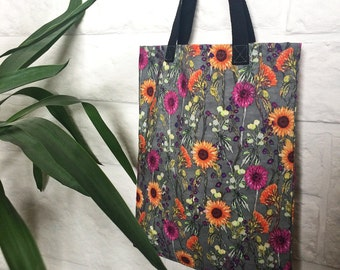Floral tote bag, ideal bridesmaid presents, gift for bestfriend, colourful flower print canvas fabric, small tote or lunch bag for women